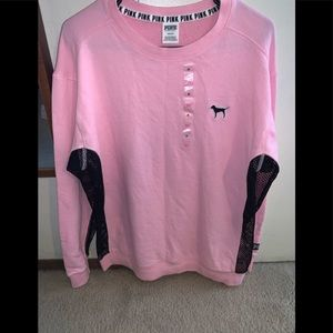 PINK Crew Sweater Meshed Sides M fits L (NWT)